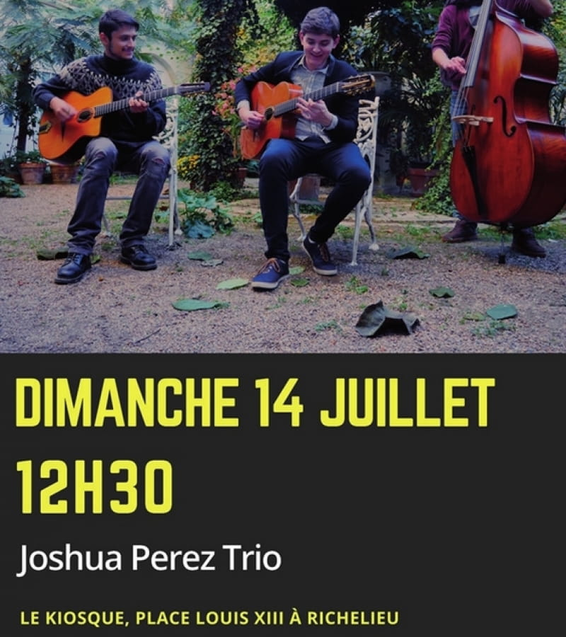 concert Joshua Perez Trio kiosque Richelieu 14 juillet 2021