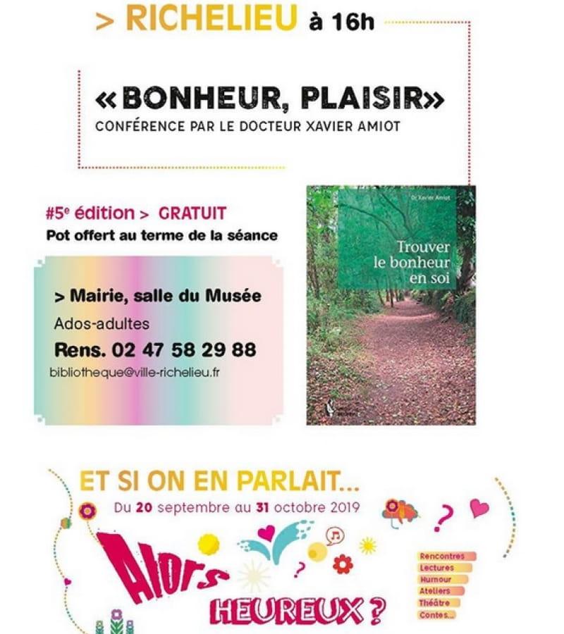 conférence bonheur plaisir mairie Richelieu octobre 2019