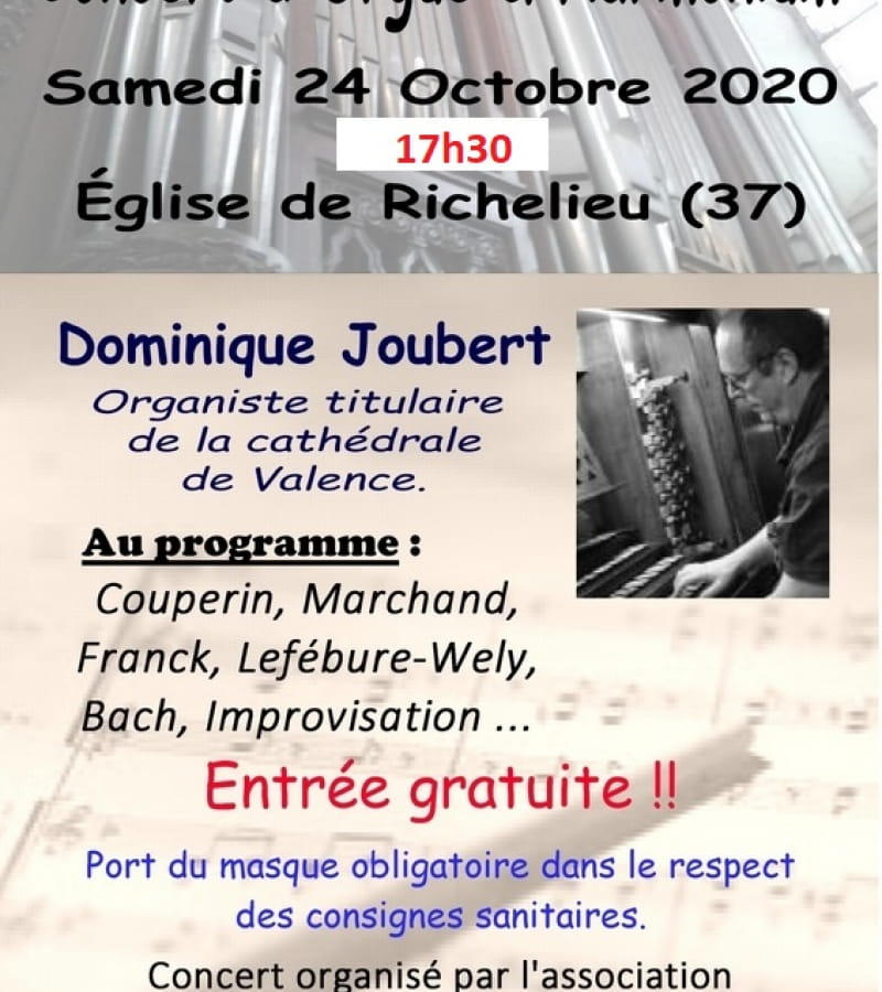 concert orgue harmonium église richelieu dominique joubert octobre 2020